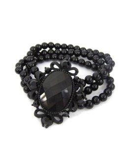 画像1: 【新品】ストーンパールブレス(黒)(bracelet/black)