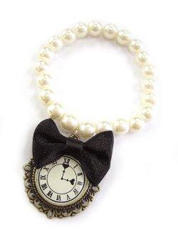 画像1: 【新品】 時計リボンパールブレスレット