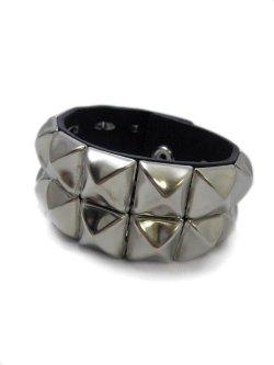 画像1: 【新品】2連スタッズブレス(シルバー) (bracelet)