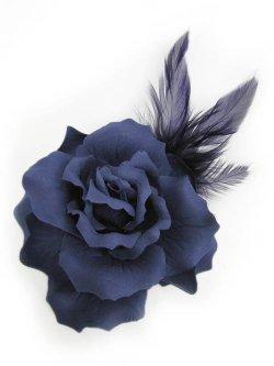 画像1: 【新品】薔薇2WAYブローチ&ヘアピン 青