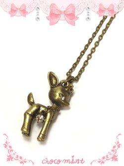 画像1: 【新品】アンティークバンビちゃんネックレス necklace