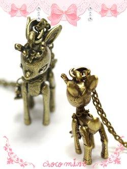 画像2: 【新品】アンティークバンビちゃんネックレス necklace