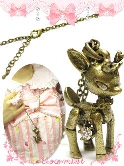 画像3: 【新品】アンティークバンビちゃんネックレス necklace
