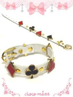 画像1: 【新品】トランプレザーブレスレット(ホワイト) bracelet(white)