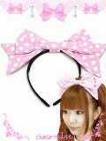 【新品】ドットリボンカチューシャ headband(ピンク pink)