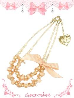 画像1: 【新品】 リボンパールネックレス(ピンク)