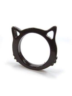 画像1: 【新品】 ネコシルエットリング(ブラック)