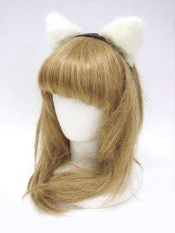 画像1: 【新品】 ねこみみカチューシャ (ホワイト×ブラック)