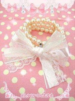 画像1: 【新品】リボンパールブレス (ピンク)