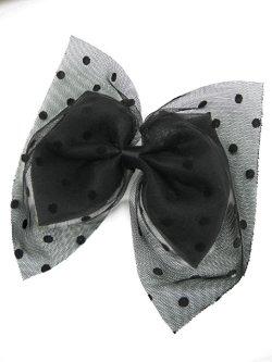 画像1: 【新品】ドットチュール2WAYブローチ&ヘアピン(ブラック/ブラック)brooch/hair pin