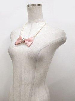 画像3: 【新品】クリスタルリボンパールネックレス(ピンク)
