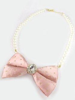 画像1: 【新品】クリスタルリボンパールネックレス(ピンク)