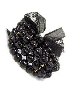 画像2: 【新品】リボンパールブレス(ブラック)