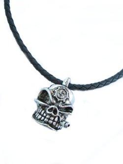 画像1: 【新品】スカルレザーネックレス(necklace)