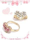 【新品】キラキラハートリング (ring)ピンク