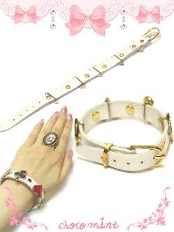 画像2: 【新品】トランプレザーブレスレット(ホワイト) bracelet(white)