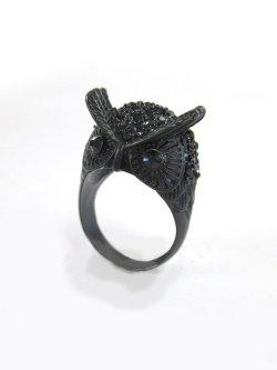 画像1: 【新品】 ふくろうリング(黒×黒)