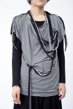 画像1: 【新品】肩ジップTシャツ(黒×白)(Tshirt) g_tp