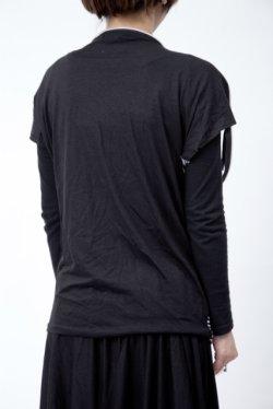 画像2: 【新品】肩ジップTシャツ(黒×白)(Tshirt) g_tp