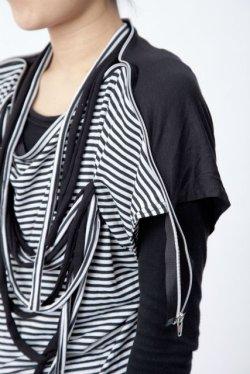 画像3: 【新品】肩ジップTシャツ(黒×白)(Tshirt) g_tp