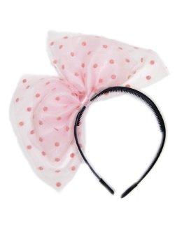 画像1: 【新品】ラブリードットチュールリボンカチューシャ ピンク