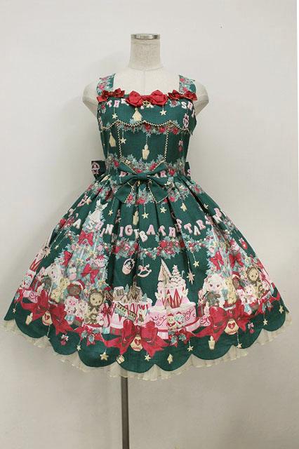 BABY,THE STARS SHINE BRIGHT / くみゃちゃんたちのChristmas Holly Nightスカラップジャンパースカート