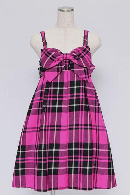 MILK / タータンチェックリボンジャンパースカート