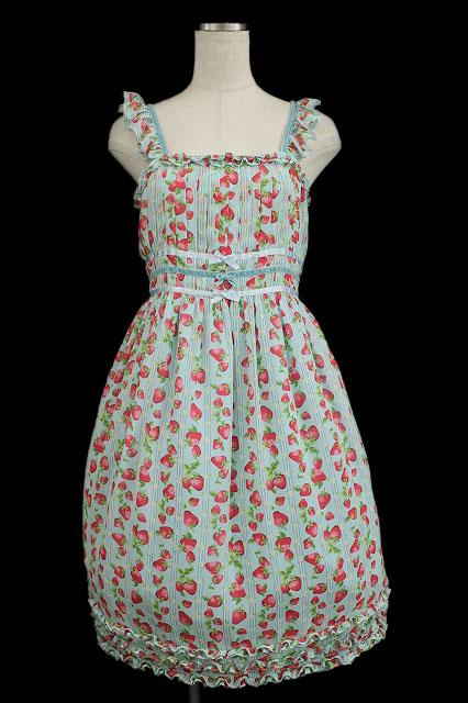 Shirley Temple / ストロベリーストライプジャンパースカート