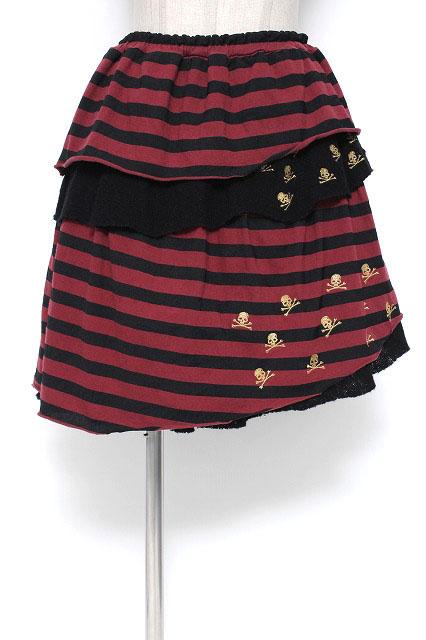 Candy Stripper / スカル刺繍ニットフリルボーダーカットスカート