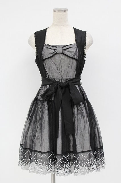 BPN / 裾刺繍チュール被せジャンパースカート