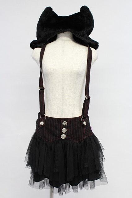 ALGONQUINS / ストライプJQのツノフード付きサスペンダースカート