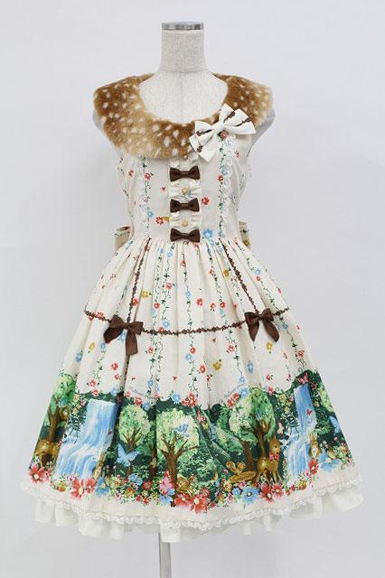 metamorphose / 木漏れ日の森ファー付ジャンパースカート
