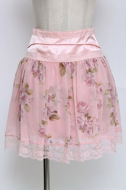 JESUS DIAMANTE / ウエスト切替スカート(薔薇柄)