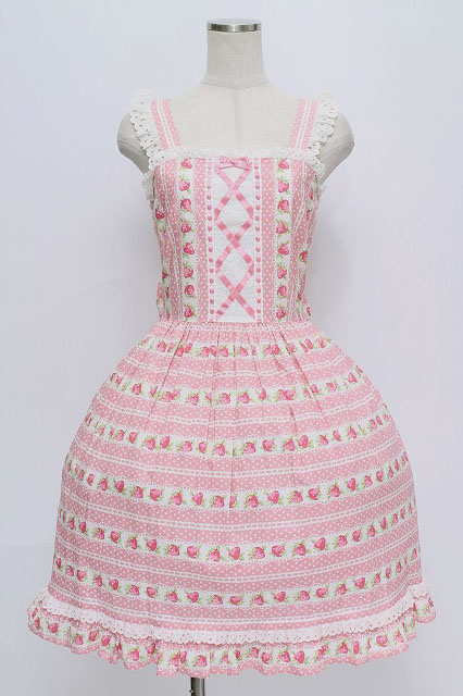 Shirley Temple / ドットいちごボーダージャンパースカート