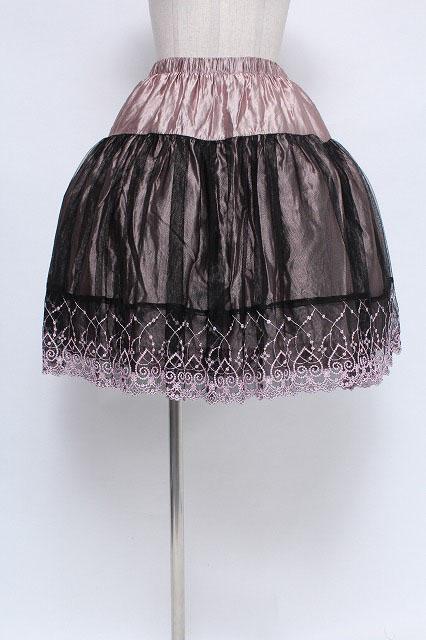 BPN / ハート&お花モチーフ刺繍チュール重ねスカート