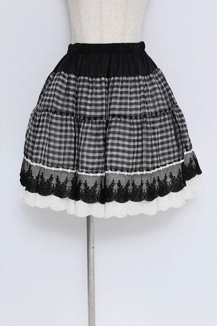 BPN / ギンガムオーガン裾レーススカート