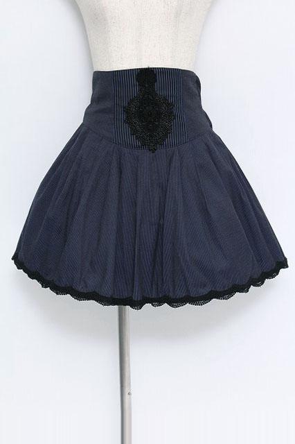 BPN / モチーフレースストライプハイウエストスカート