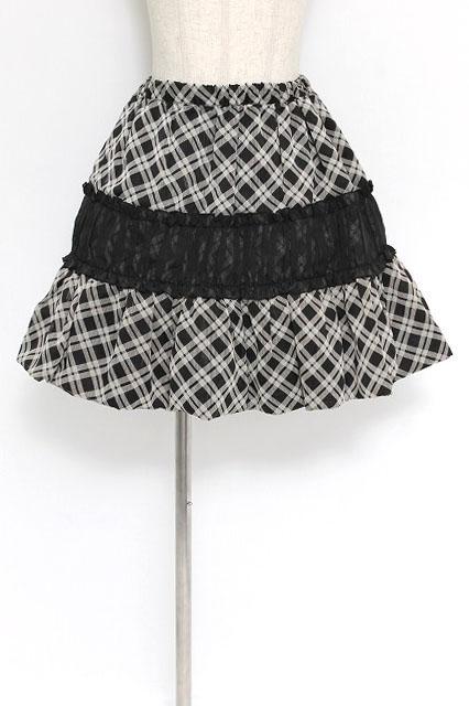 BPN / チェック柄シフォンスカート
