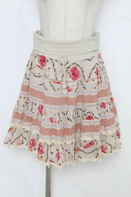 franche lippee / りんご&おさるプリントスカート