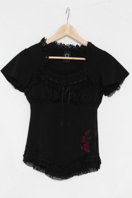Ozz oneste / 裾バラ刺繍フリル半袖トップス