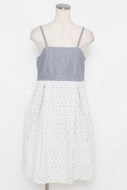 Shirley Temple / レース重ねデニムジャンパースカート