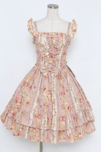 metamorphose / 花柄シャーリングジャンパースカート