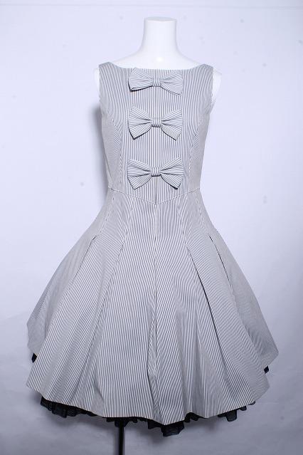 JESUS DIAMANTE / 3つリボンストライプドレス