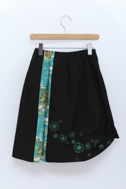 gouk / 和柄切替ミドル丈スカート