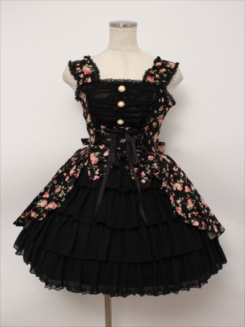 metamorphose / 花柄シフォンフリルジャンパースカート