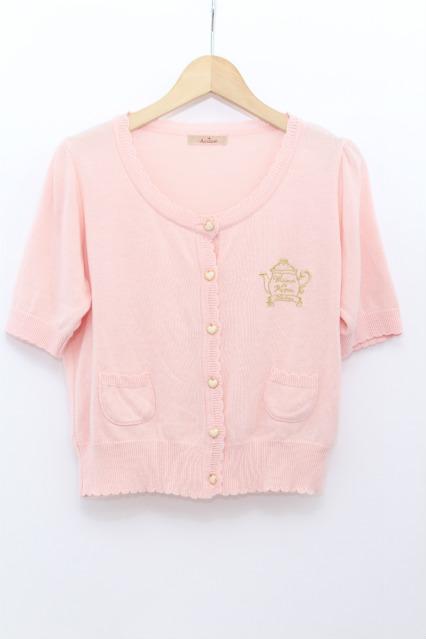 Amavel / ティーポット刺繍半袖カーデ
