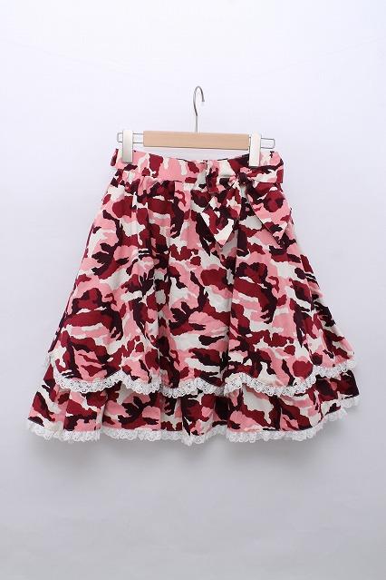metamorphose / 迷彩柄リボン付スカラップスカート