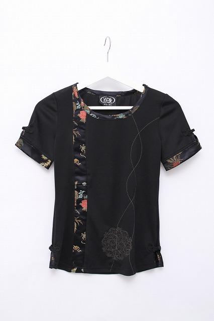 Ozz On / 異素材ラインストレッチTシャツ