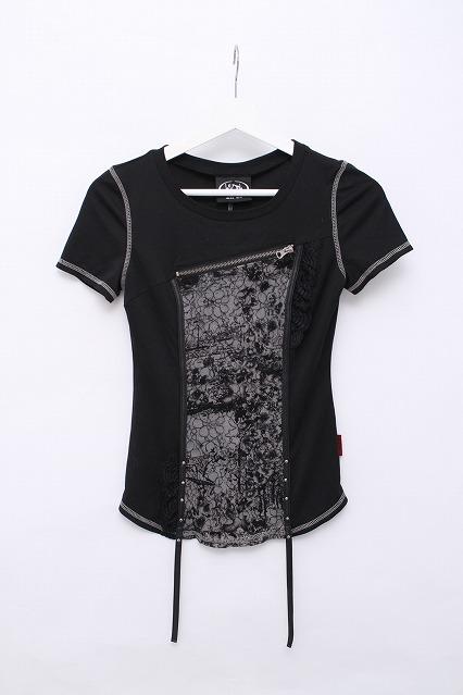 Ozz On / ZIP装飾パイピングレーシーTシャツ