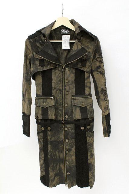 Ozz On / 斑染め袖刺繍マルチウェイロングジャケット